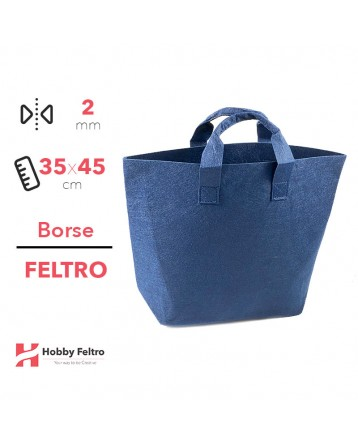 Borsa Shopper in feltro Blu COD.32