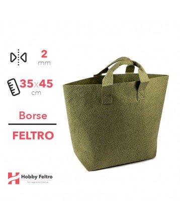 Borsa Shopper in feltro Verde Salvia COD.55