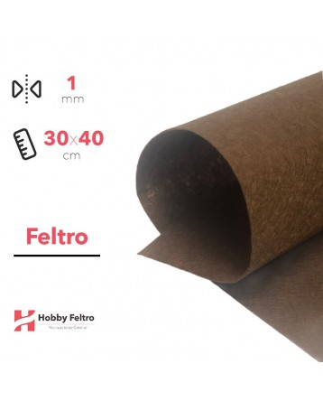 Feltro Rigido Marrone Medio 1mm 30x40cm COD.48